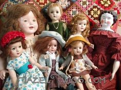 Ruths Cork Board ~ vintage dolls.  My talented sister repairs & makes clothes for dolls.