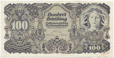 100 Schilling 1945 (Allegorie der Wissenschaft) Österreich Zweite Republik Money Bank, Austria, Wwii, Graphic Art, Vintage World Maps, The 100, Sketches, History, Retro
