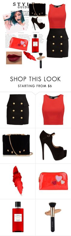 """""""#Elegant"""" by sinanovicasja ❤ liked on Polyvore featuring Balmain, Alice + Olivia, Marco de Vincenzo, Maybelline, Ted Baker and Hermès"""