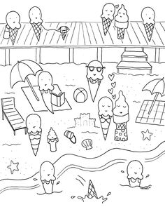 Who says coloring is just for kids? These two free coloring book page downloads are for designed for adults, featuring a summery theme.