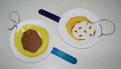 Cardboard latkes in pans. A flipping toy!