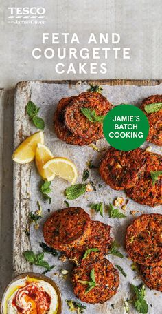"""Feta, courgette and spinach cakes - Recipes Jamie Oliver says, """"Nutty bulgar wheat and creamy feta turn these crispy savoury cakes into something really sp Healthy Meat Recipes, Veggie Recipes, Vegetarian Recipes, Free Recipes, Meat Appetizers, Appetizer Recipes, Recipes Dinner, Drink Recipes, Dinner Menu"""