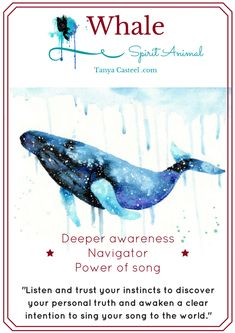 Whale spirit animal symbolism, meaning, dreams, and watercolor paintings by Tanya Casteel.