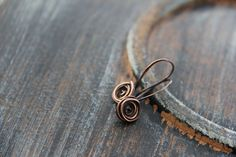 Rose bud small dangle earrings in sterling silver or copper, silver 925 rose earrings, copper rose earrings, wire wrap, flower, woodland by Keepandcherish on Etsy