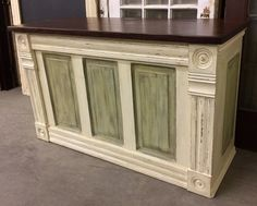 Urban Chic original build; Kitchen Island built from a vintage panel door, architectural trim, reclaimed wood and a 100 year old barn door (top). Painted with French Grey and Versailles chalk paint and then antiqued and distressed. Click the image to find more Home Decor Pinterest pins. http://www.facebook.com/Urbanchicdecor http://instagram.com/urbanchicdecor/
