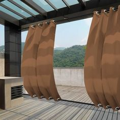Outside Curtains, Outdoor Curtains For Patio, Balcony Curtains, Curtains 1 Panel, Outdoor Pergola, Outdoor Rooms, Backyard Patio, Backyard Landscaping, Outdoor Living