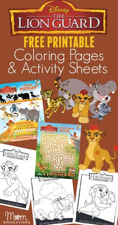 Disney's The Lion Guard Free Printable Coloring Pages & Activity Sheets!