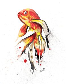 Excited to share the latest addition to my #etsy shop: Inky Goldfish Giclee Art Print, Colourful Wall Art, Fish Poster, Home Decor, Unique Wall Art, Gift Idea, Bespoke Designs On Request https://etsy.me/2ujzd7K #housewares #homedecor #orange #black #bedroom #ink #art #