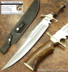 IMPACT CUTLERY RARE CUSTOM D2 LARGE COMBAT BOWIE KNIFE BURL WOOD HANDLE | eBay