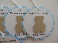Teddy Bear Party Favor Tags - Thanks for Coming - Brown, Blue and White - Boy Birthday Party - Boy Baby Shower - Set of 6 by Whimsiesbykaren on Etsy