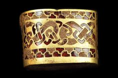 Part of the largest hoard of Saxon treasure found in Staffordshire 2009..intricate designs in gold