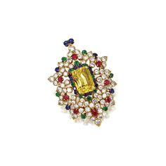 YELLOW SAPPHIRE, DIAMOND AND COLORED STONE PENDANT-BROOCH, VAN CLEEF & ARPELS, 1964 The stylized floral motif of bombé form set in the center with an emerald-cut yellow sapphire weighing approximately17.25 carats, within an openwork border set with75 round diamonds weighing approximately10.35 carats, further decorated withround sapphires, emeralds and rubies, retractable pendant loop at the top, mounted in 18 karat gold,signed VCA, numbered 34524.