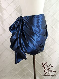 "Swag Front Bustle Skirt in Dark Royal Blue Iridescent Taffeta -- Fits 28""-38"" Waist or Upper Hip"
