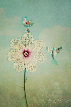 Abstract Fine Art Photograph, Mixed Media Art, Pink Flower, Textures, Bird Embellishment, Doily, Home Decor, Whimsical Art, 4x6 Print.  via Etsy.