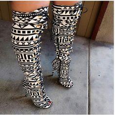 Tribal knee high boot