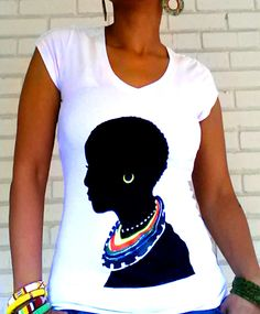 "Image of The ""Tribal"" V Neck T-Shirt in White $24.99"