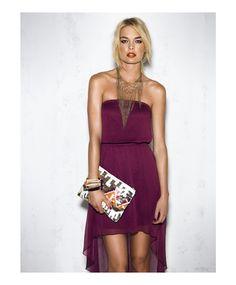 Purple high-low dress, long gold chain drape necklace