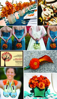 autumn weddings teal tablescapes - Google Search