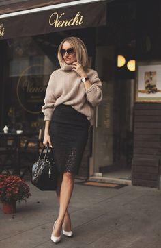 Guess By Marciano Black Lace Hem Pencil Midi Skirt # Skirt Fashion, Love Fashion, Autumn Fashion, Fashion Beauty, Perfect Fall Outfit, Cozy Winter Outfits, Guess By Marciano, Everyday Outfits, Casual Outfits