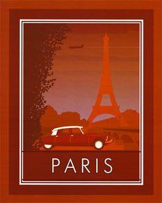 Vintage Paris travel poster