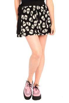 Black Skull Print Side Tie Skirt