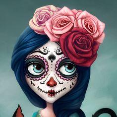 Character desing for an animation tv show. Day Of The Dead Drawing, Day Of The Dead Artwork, Day Of The Dead Girl, Sugar Skull Tattoos, Sugar Skull Art, Sugar Skulls, Halloween Nail Designs, Halloween Makeup, Frida Art