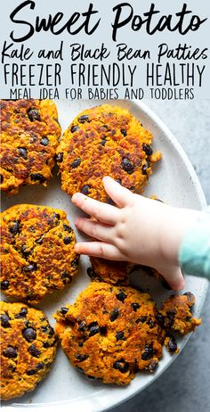 These Sweet Potato, Kale and Black Bean Patties are an easy way to get picky toddlers to LOVE eating vegetables!  This healthy toddler meal idea can be made ahead of time, is freezer friendly, and perfect for baby led weaning.  |  healthy baby food recipes | vegetable recipes for babies and toddlers | 1 year old food ideas