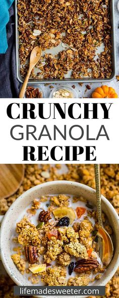Make your own Crunchy Granola! It's easy to make and you can control what ingredients go into it. My version is perfect for fall because it's filled with incredible pumpkin flavors. It's vegan, gluten-free, paleo and grain-free too! Give it a taste!