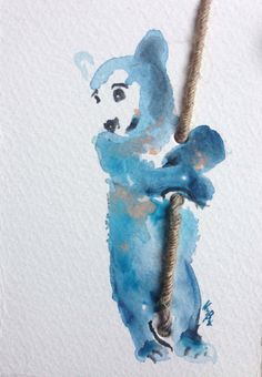 Ted bear   original hand made painted watercolor by Kribro on Etsy, €12.00