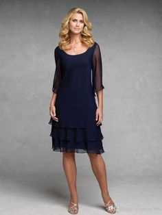 2015 Navy Blue Chiffon Mother Of The Bride Dresses A Line Scoop Neck 3/4 Long Sleeves Knee Length Summer Beach Wedding Party Gowns Green Mother Of The Bride Dresses Modest Mother Of The Bride Dresses From Jingting588, $95.29| Dhgate.Com