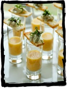 Wedding Food Yellow Tomato Gazpacho Shooters with Basil Crab Salad Crostinis - Vintage Wedding by She-n-He Photography and Design Three Apples Events Tomato Gazpacho, Soup And Sandwich, Mini Foods, Appetisers, Food Inspiration, Wedding Inspiration, Party Snacks, Food Presentation, Food Plating