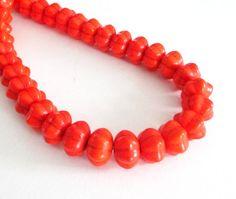Pumpkin Beads  Orange Rondelle  Hand Carved Howlite by BijiBijoux