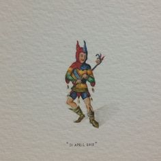 Day 111 : For Julian the court jester on his 50th birthday. Happiest of days to you! 28 x 13 mm. #365paintingsforants #court #jester (at Die Wingerd)