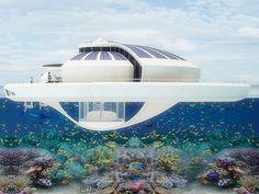 SFI, UNA ISLA FLOTANTE SOLAR. Tiene capacidad para alojar a 6 personas, una sala de observación bajo el agua, y es autosuficiente, pues cuenta con un importante recubrimiento de láminas fotovoltaicas.