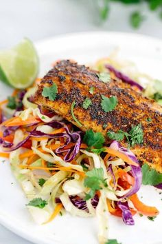 Mahi Mahi with Crunchy Coleslaw Pan seared mahi mahi recipe coated with a blend of savory and sweet spices. Each fillet is served with a crunchy and refreshing honey lime coleslaw. Seafood Dishes, Seafood Recipes, Dinner Recipes, Cooking Recipes, Healthy Recipes, Budget Recipes, Simple Recipes, Restaurant Recipes, Gourmet
