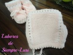 Labores de siempre: Capota y patucos en Punto de musgo Knitted Hats, Crochet Hats, Baby Knitting, Knitting Patterns, Winter Hats, Sewing, Crafts, Diy, Fashion