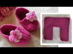Crochet Easy Slippers For Baby - We Love Crochet - Diy Crafts Booties Crochet, Crochet Baby Booties, Crochet Slippers, Baby Knitting Patterns, Crochet Patterns, Crochet One Piece, Love Crochet, Baby Diy Projects, Crochet Slipper Pattern