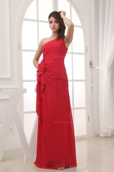 One shoulder floor length chiffon gown with sash,$128.98
