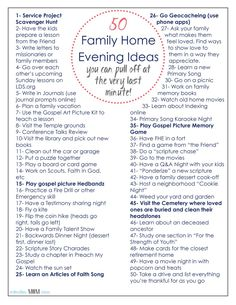 50 Family Home Evening Ideas-that you can pull off at the very last minute!