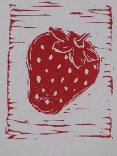 Strawberry block printed ACEO, hand-pulled block print of a strawberry