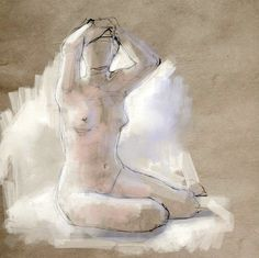 life drawing by Stefan Marjoram, via Flickr  (first stained paper, added white rough brush strokes to fill negative space)