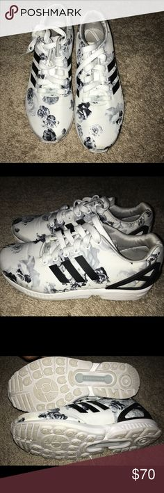Adidas ZX flux Adidas Originals ZX FLUX torsion black x white floral men's size 8 (women's 9)  only worn once and never had anywhere to wear them too. In great condition adidas Shoes Sneakers