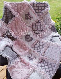 baby Girl rag quilt~ pink and gray classics