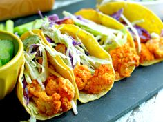 Spicy Buffalo Cauliflower Tacos with Cool Ranch Slaw - Vegan, Oil Free, Gluten Free