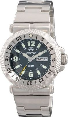 Reactor Fallout Men's Full Watch - Bracelet - Stainless - Black Coral Dial - Day/Date - 63001  http://www.originalwatchstore.com/brand/reactor/