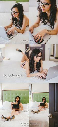 """Nerdoir."" Sexy-cute and nerdy chic!   www.curvesboudoir.com"