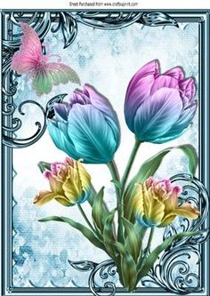Pretty painted rainbow tulips with butterfly A4 on Craftsuprint - Add To Basket!