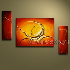 Enchant Modern Abstract Painting Oil Painting On Canvas Gallery Stretched Abstract. This 3 panels canvas wall art is hand painted by Bo Yi Art Studio, instock - $155. To see more, visit OilPaintingShops.com