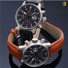 Fortis Aviatis Flieger Classic automatic men's chronograph watch pair with black and brown straps