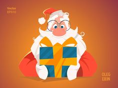 happy santa claus christmas big mail letter reading holding vector character design